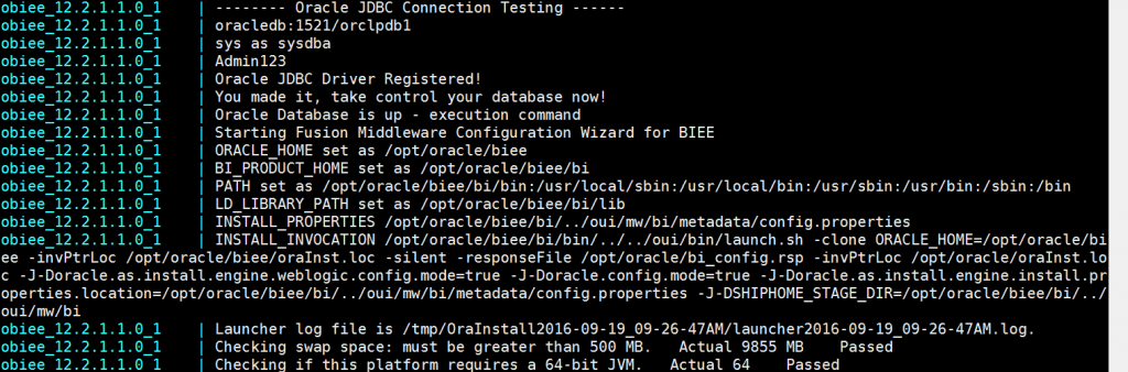 The OBIEE container is able to connect to the database, so time to run the configure or start script.