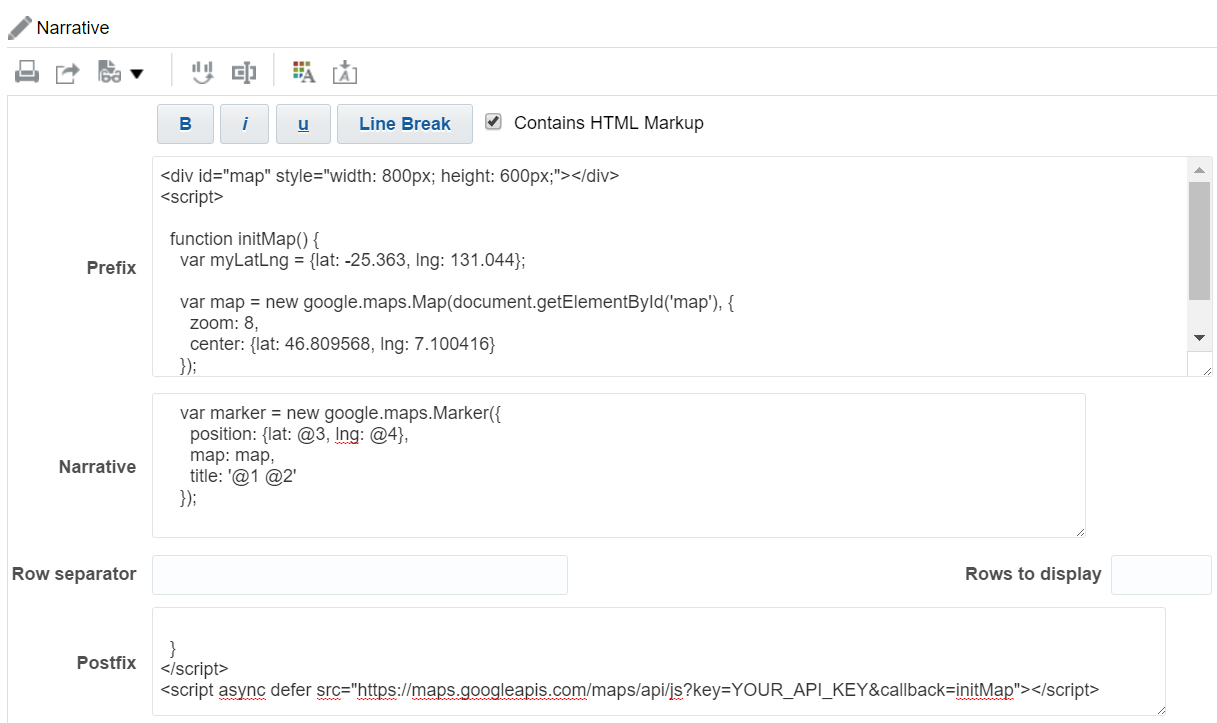 Google Map In A OBIEE C Analysis Giannis World Things - Show google map using latitude and longitude javascript