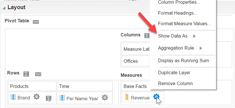 """Show Data As"" : in a pivot you have it as an option on the Measures columns"