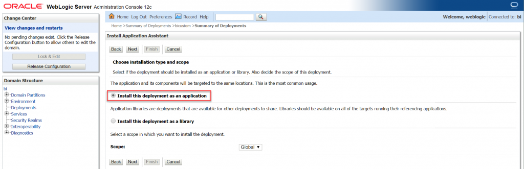 Install the deployment as an application