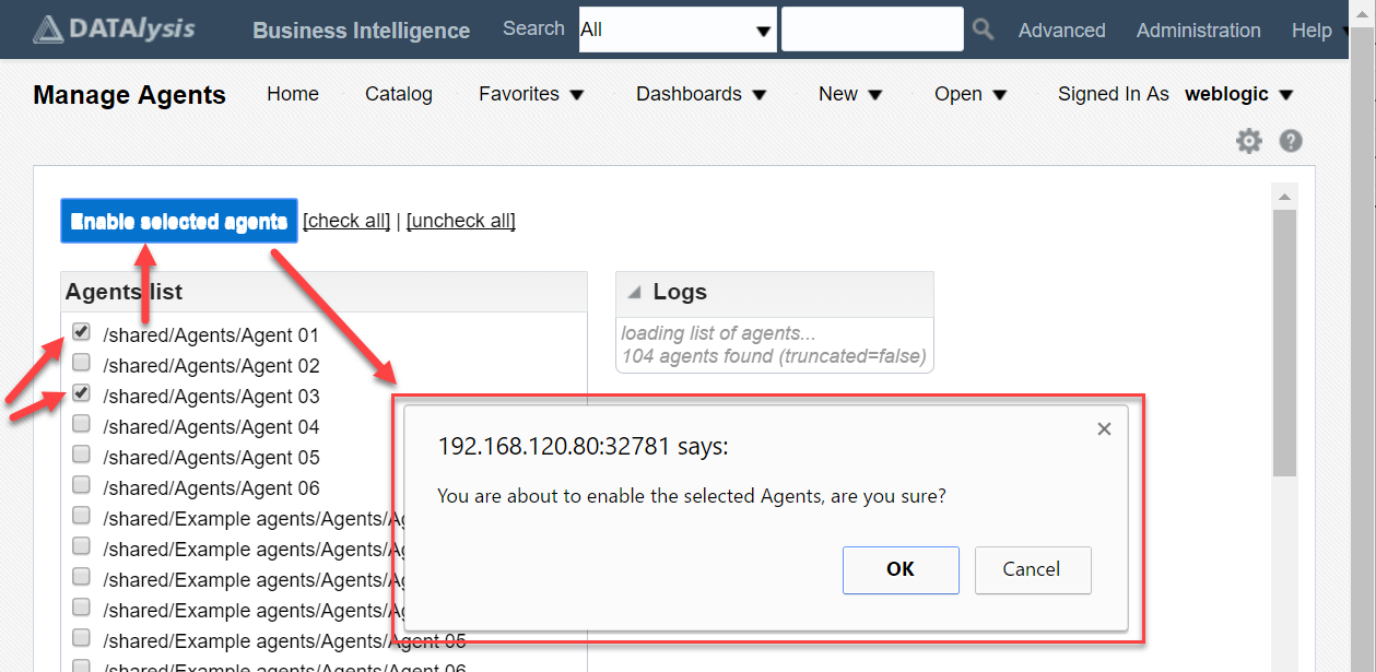 Scripts to use Agents in OBIEE 12c: mass enabling and