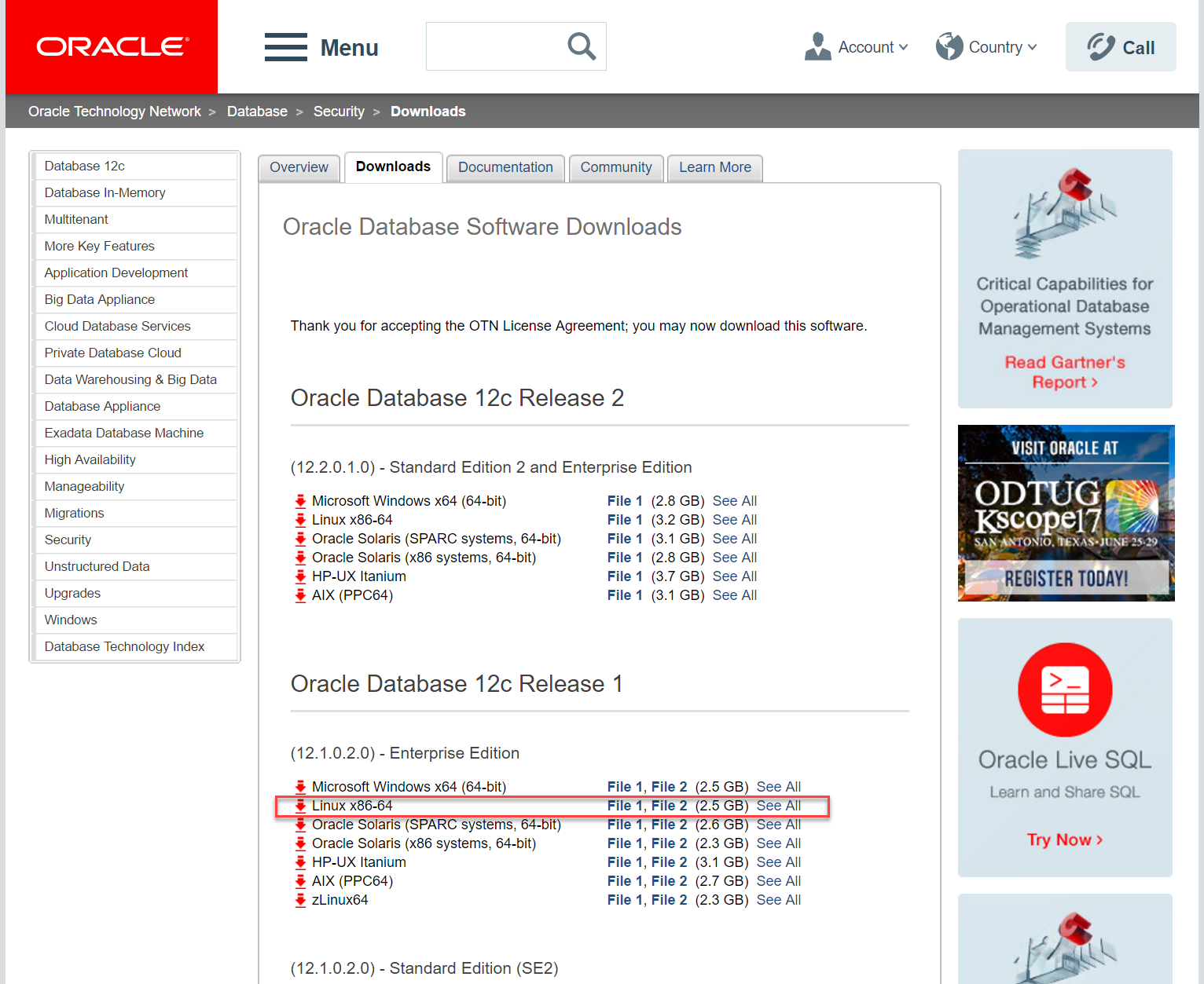 Docker OBIEE12c from scratch: download database
