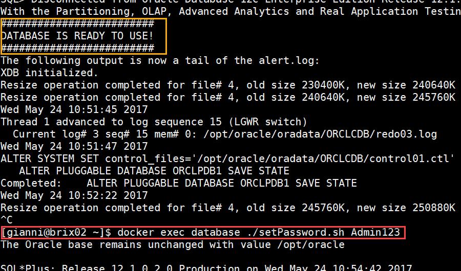 Docker OBIEE12c from scratch: database ready, change password