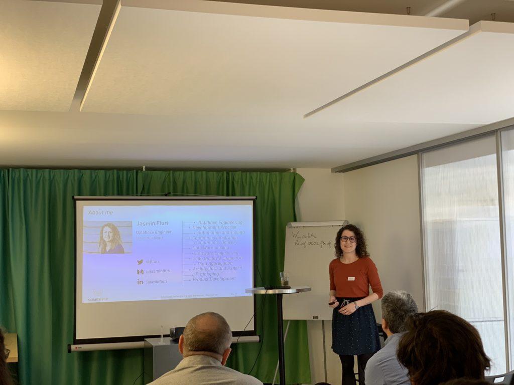 Jasmine Fluri presenting at SOUG 2019 in Lausanne