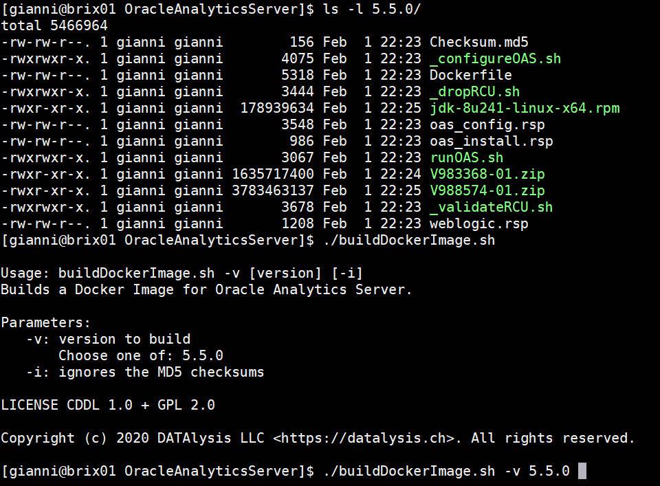 Build an OAS Docker image